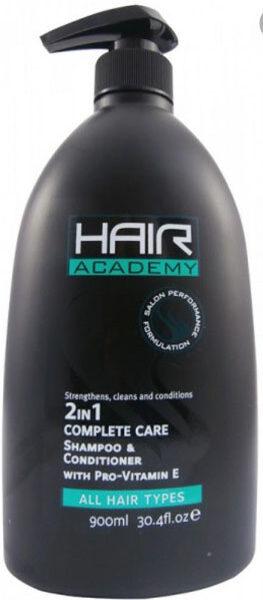 HAIR ACADEMY- 2IN1 Šampūns un kondicionieris visiem matu tipiem 900 ml