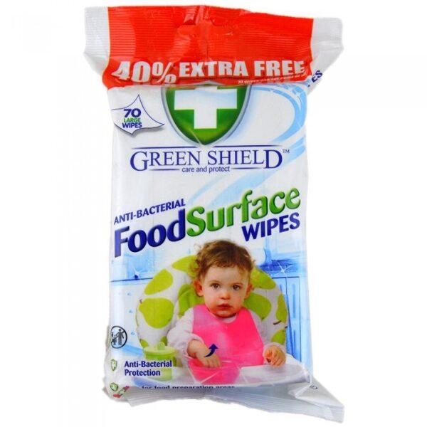 GREEN SHIELD Antibakteriālās mitrās salvetes ēdienu virsmām 70 gb