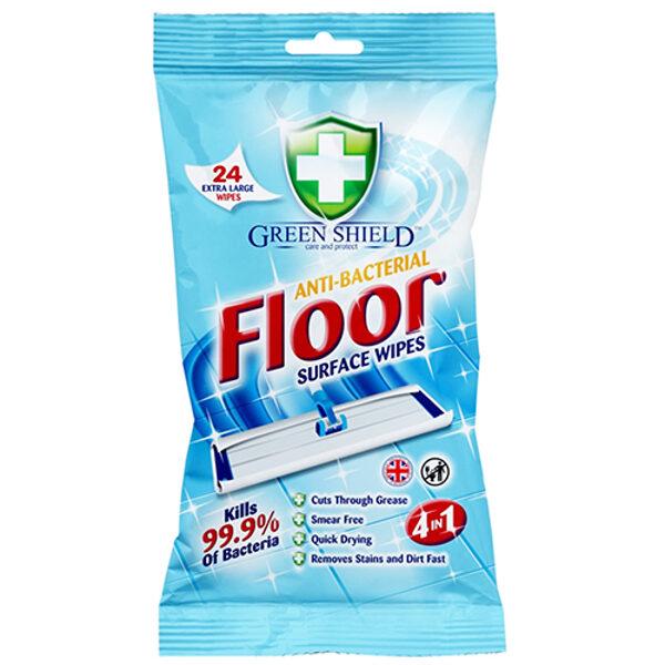 GREEN SHIELD Antibakteriālas mitrās salvetes grīdu tīrīšanai 24gb