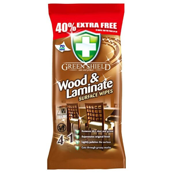 GREEN SHIELD Mitrās salvetes koka un lamināta virsmām 70 gb