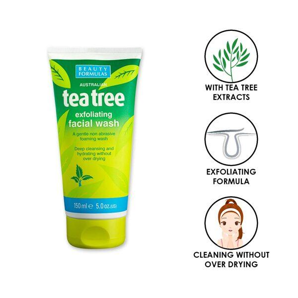 BEAUTY FORMULAS Austrālijas tējas koka pīlinga sejas mazgāšanas līdzeklis 150 ml