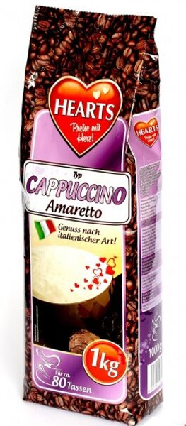 HEARTS CAPPUCCINO  Šķīstošais kapučino dzēriens ar amaretto garšu 1 kg